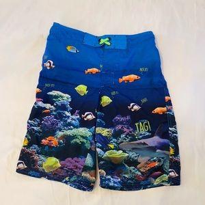 Boys swim trunks blue fish size L
